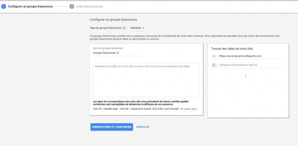 groupe d'annonce adwords