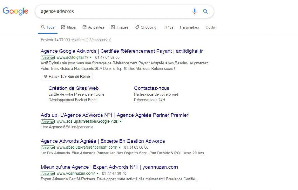 agence adwords résultat google
